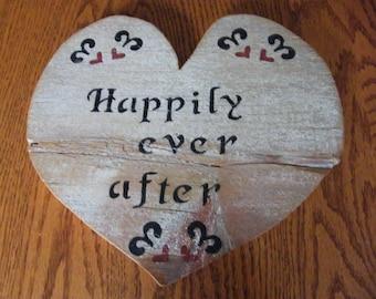 "Barn Wood Art, Shiplap Sign, Heart Design, ""Happily Ever After"", Garden Art, Wedding, Rustic Primitive Distressed Wood, Wall Decor"