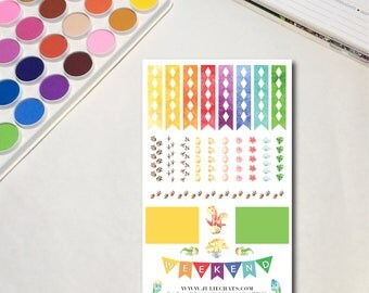 Rainbow Dinosaurs - Headers - Whimsical Watercolor Planner Sticker Sheets, The Ones with Rainbow Dinosaurs Collection