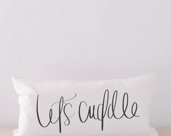Lumbar Pillow - Let's Cuddle, home decor, housewarming gift, cushion cover, throw pillow