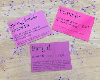 Feminist/Fangirl/Strong Female Character | Postcard Prints Art Poster Bookmark Feminist Birthday Mother's Day Gift