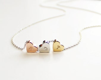 Three Hearts Necklace, Gold Silver Rose Gold Heart Necklace, Three Color Hearts, Initialed Hearts, Hand Stamped Initials