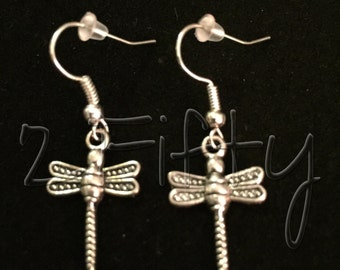 RTS Dragonfly Inspired Nickel Free Hook Earrings Flying Winged Insects Beautiful*sale*