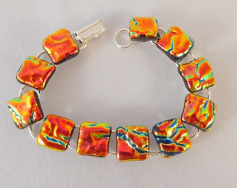 7 Inch OrangeDichroic Fused Glass Bracelet, Fused Glass, Dichroic, Glass Bracelet, Dichroic Bracelet, Dichroic, Fused Glass Bracelet, Orange
