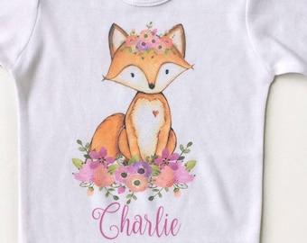 Boho Baby Clothes, Baby Girl Fox Shirt, Fox bodysuit, Fox floral crown, woodland animals nursery, woodland animals theme