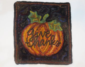 GIVE THANKS   hand hooked wool rug  JulieMayfieldHome