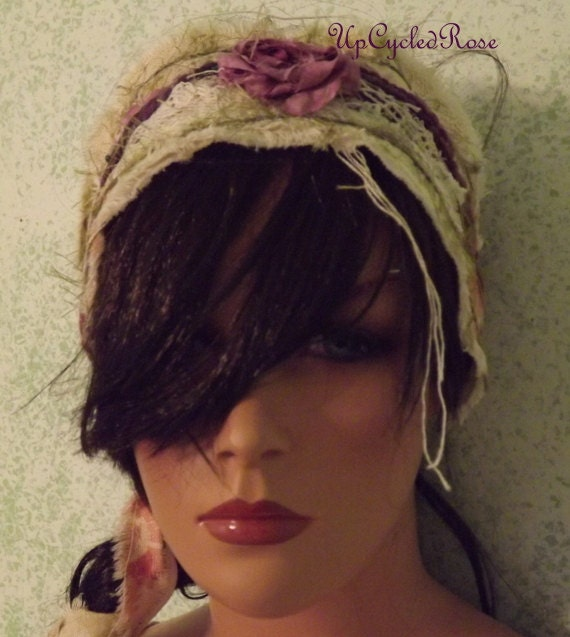 A little Bohemian Up-cycled Fabric Hair Wrap Ready To Ship Free In USA