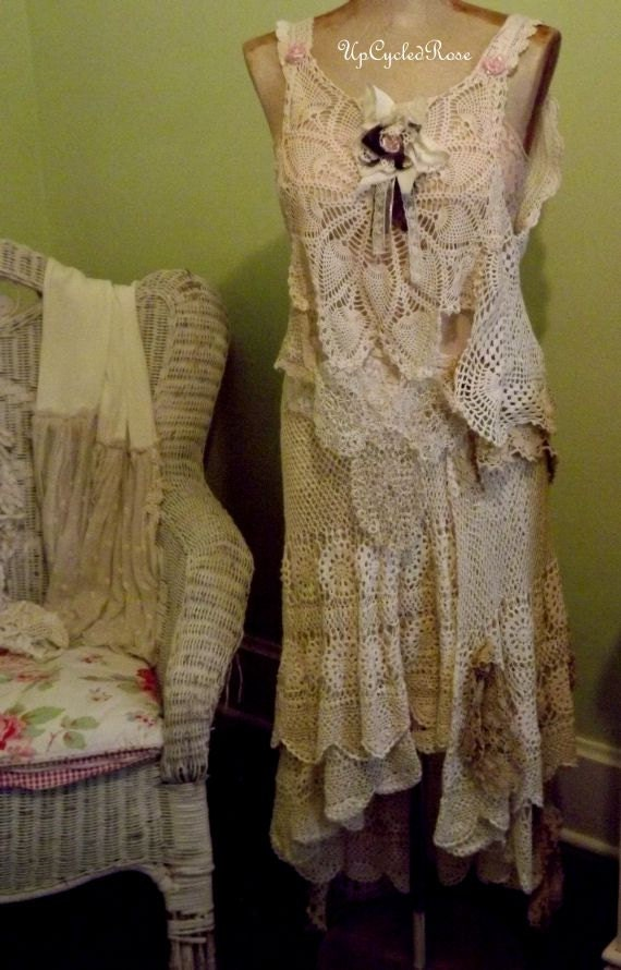 Get me to the Beach on Time UpCycled Rose Vintage Crochet Wedding Ensemble 3 Pieces of Shabby Couture Ready to Ship