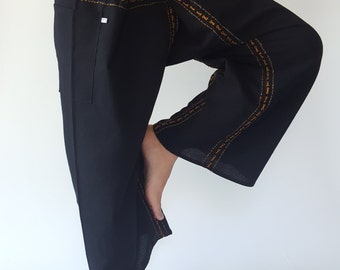 F80031 Hand Sewing Inseam design for Thai Fisherman Pants Wide Leg pants, Wrap pants, Unisex pants