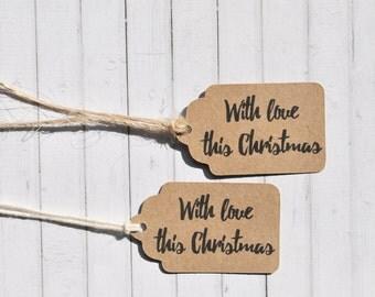 With Love This Christmas, Christmas Gift Tag, Scalloped Gift Tags, Minimalist Gift Tags, Kraft Gift Tag, Christmas Gift Wrap, Wrapping