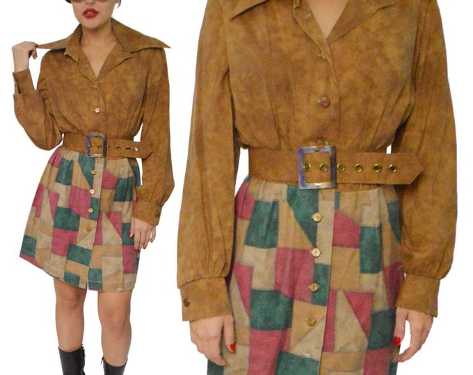 Vintage 70s Hippie Boho Sheath Shirtdress Patches Skirt Dress