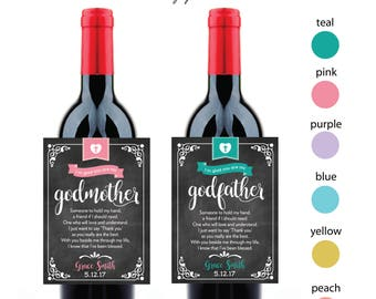 Chalkboard Wine Labels for Godparents, Godmother, Godfather, Christening, Baptism, Confirmation, Gift
