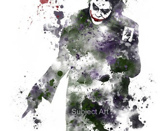 The Joker, Batman ART PRINT illustration, Supervillain, Home Decor, Wall Art. The Dark Knight