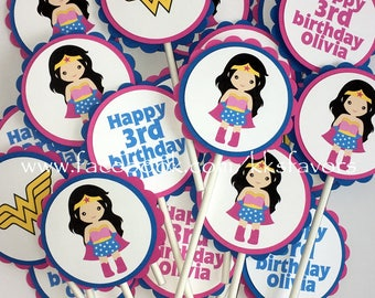 Pink Wonder Woman Cupcake Toppers / Pink Superhero Girls Cupcake Toppers / Pink Girls Superhero Party Cupcake Toppers - Set of 12