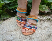 "Greek Leather Sandals ""Iliovasilema"", pom pom sandals, boho sandals, spartan sandals,hippie shoes, gladiator sandals,OOAK"