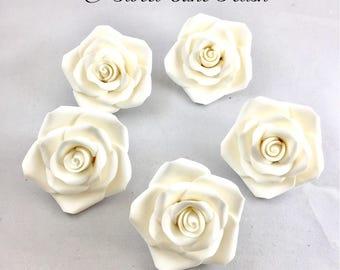 Gumpaste Flowers Rose cake toppers  6 Gumpaste Roses Fondant Flowers  Cupcake toppers  Gumpaste cake topper  Wedding cake toppers
