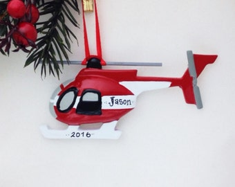 Red and White Helicopter Personalized Christmas Ornament / Toddler Ornament / Child Christmas Ornament / Pilot Ornament