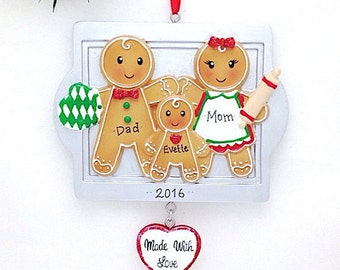 FREE SHIPPING 3 Gingerbread Family Personalized Christmas Ornament / Made with Love / Gingerbread Family / Family Christmas Ornament