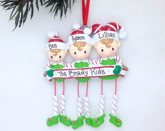 3 Elf Family Personalized Christmas Ornament / Elf ornament / Personalized Ornament / Personalized Family Ornament