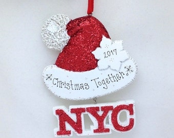 FREE SHIPPING New York City Personalized Christmas Ornament / Sparkly Santa Hat Ornament / New York Christmas in New York Souvenir