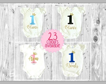 Custom Colour Name 1 Birthday Bodysuits - 1st birthday outfit, one baby outfit, glitter bodysuit, cake smash outfit, boy outfit, girl outfit