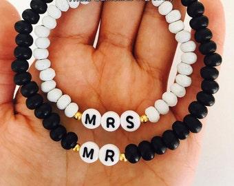 Bride and groom bracelet, Mr and Mrs bracelet, Couples bracelet, Matching bracelets, wood bead bracelet,  pair of bracelets