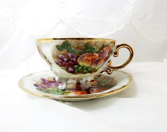 Vintage 1950s, Tea Cup and Saucer Lustreware, Gilded Handle and Accents, Mixed Fruit