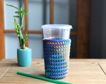 Iced Coffee Sleeve - Crochet Coffee Cup Sleeve - Frozen Coffee Sleeve - Eco Friendly Gifts - Southwestern Decor - Coffee Cup Sleeve