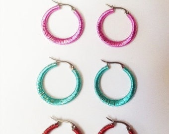 Wrapped Hoop earrings ~ Steel Hoop earrings ~ stainless steel earrings ~colorful earrings, wire wrapped earrings ~ colored hoop earrings