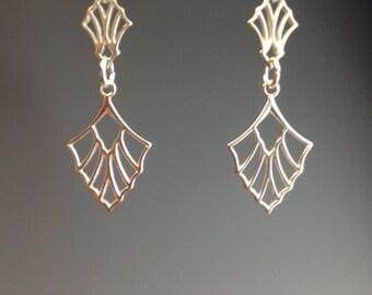 Art Deco Earrings - Sterling silver earrings - dangle earrings - 1920's jewelry - Art Deco Jewelry - 1920's earrings - Deco fan