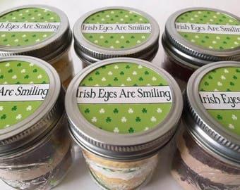 6 (8oz) Cupcake Jars-Mason Jars-St.Patrick's Day-College Care Package-Irish Eyes are Smiling-Irish-Sweets-Shamrocks-Green-Edibles-Gift-Gold