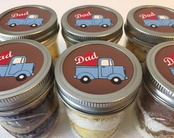 6 (8oz) Cupcakes In A Jar-Mason Jars-Father's Day-Happy Father's Day-Gifts for Dad-I love Dad-Truck-Grandpop-Sweet Tooth-Edibles-Gift