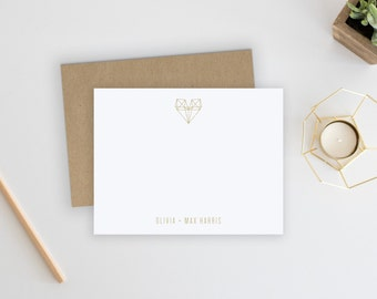 Wedding Thank You Cards. Wedding Thank You Notes. Personalized Stationery. Couples Stationery. Stationary. Modern. Stationery. Geo Heart.