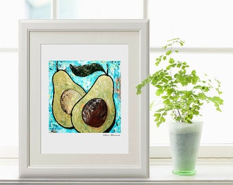 """Abstract Avocado Art Print """"Sustenance"""", Kitchen Decor,  Acrylic Painting by Sue Allemand, Home Decorating, Wall Art"""