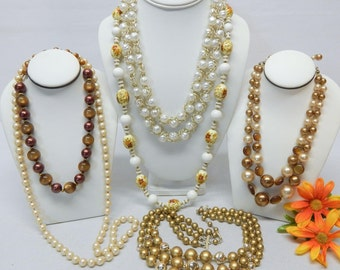 Vintage Necklace Lot - Hong Kong, Japan, Monet & Unsigned - Collectible Resell Jewelry Lot - Vintage Plastics