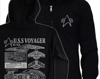 Star Trek VOYAGER - S - 5XL Hoodie - captain janeway starfleet NCC-74656 blueprints hoody