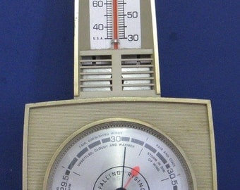 Taylor Wall Mounted Thermometer / Barometer - 1970s Vintage
