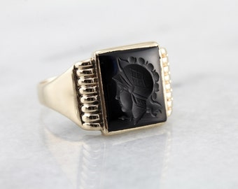 Handsome Men's Black Onyx Intaglio Ring, Centurion or Legionnaire ZWY51E-N