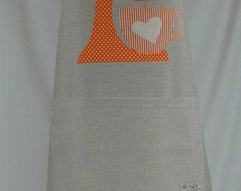 Apron handmade, gift for her, orange kitchenaid appliqué