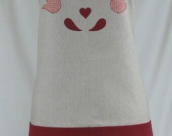 Apron handmade, gift for her, burgundy tupil appliqué