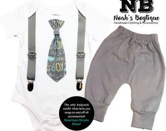 Baby Boy Coming Home Outfit Gray Airplane Precious Boy Tie and Suspenders - Baby Shower Gift for Baby Boy - Newborn Coming Home Outfit Mint