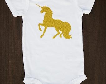Unicorn Bodysuit..Unicorn Shirt...Unicorn Birthday Shirt...Unicorn Baby Shirt...Baby Girl Unicorn Birthday Shirt...Baby Girl Clothes...Gold