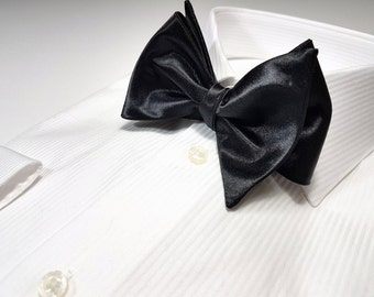 SELF TIED Bow Tie in Large 3.5 inch Satin Twill Black