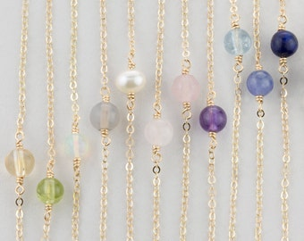 Birthstone Necklace Gift for Mothers, Daughters...Simple, Dainty Gemstone Necklace in 14k Gold ...