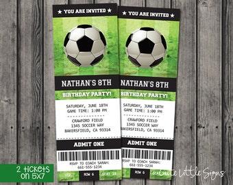 Soccer Ticket Birthday Invitation, Fútbol Birthday Invitation Tickets Digital Download