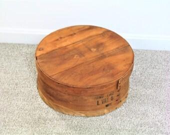 60s Vintage Old Wood Cheese Box w/ Lid