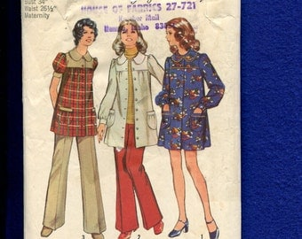 1970's Simplicity 5368 Country Maternity Smock or Dress and & Pants  Size 12