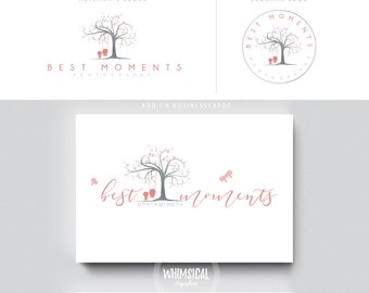 Tree of Memories -Premade Photography Logo and Watermark, Classic Elegant Script Font GOLD GLITTER TREE childrenCalligraphy Logo