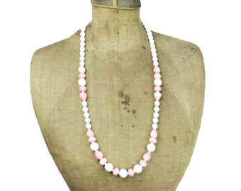 Vintage Long Milk Glass Necklace, Pink and White Glass Bead Necklace, White and Pink Necklace, Pink Bead Necklace, Long White Necklace