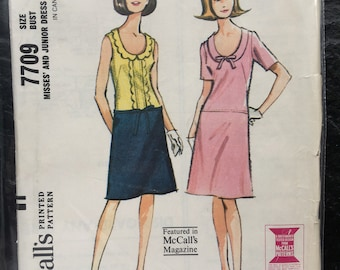 Vintage 1960s Misses' and Junior Long Waisted Dress Pattern // McCall's 7709, size 13 > Unused