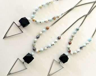 Big triangle pendant necklace, amazonite stone beads necklace, beaded geometric necklace, multi color stone necklace, silver triangle